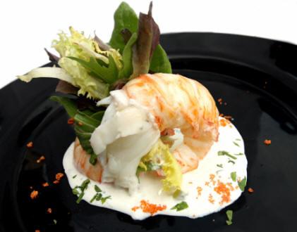 Recetas de langosta: Tronco de langosta con salsa de yogur y aromas de albahaca