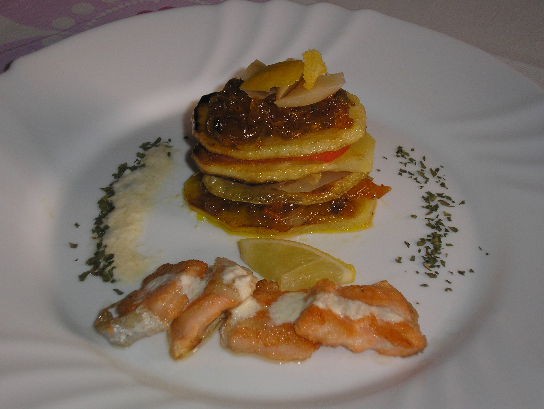Recetas de langosta, recetas de salmón: Milhojas de langosta al limón con salmón